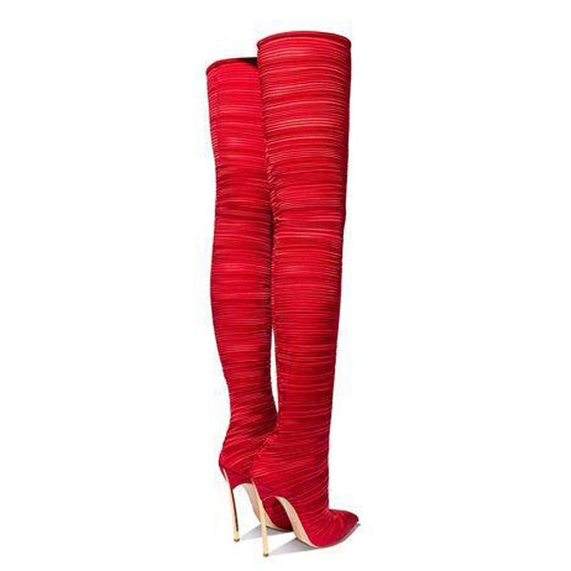 Hauts Pointu Talons Bout En Femme Femmes 2019 Chaussette Métal Le Rouge Élastique Sur Chaussures Plis Genou Bottes À Sexy 4xwwq861O0