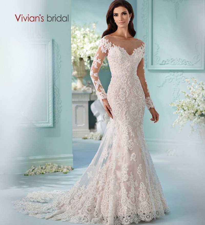 fae1a13b3af Vivian s Bridal 2018 Fashion Long Sleeve O-neck Empire Wedding Dress Lace  Appliques Court Train