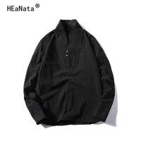 Men Linen Chinese Style Long Sleeves Shirt Loose Large Size Cotton linen T shirt Tang Suit Korea Japan Harajuku Clothing