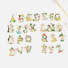 104pcs 4 sets DIY jewelry accessories enamel alloy gold-color floral English letter listing charms pendant CH0077