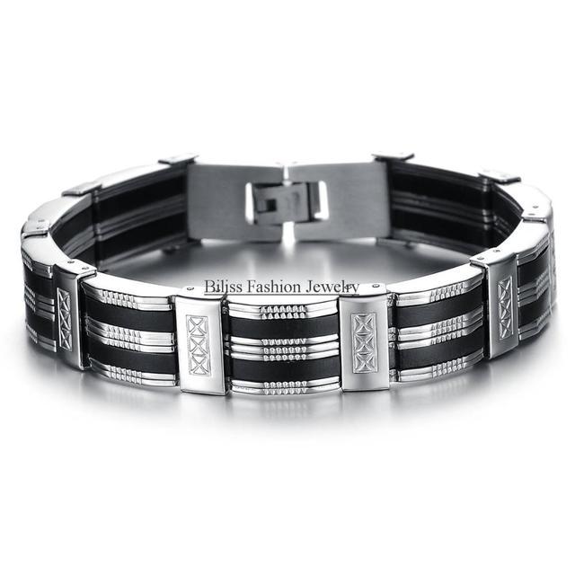 """8.27 """"13mm de Ancho de Plata de Acero Inoxidable Negro Silicona Pulseras Brazaletes del Regalo de Cumpleaños para Los Hombres de La Joyería (con Bolsa de Regalo)"""