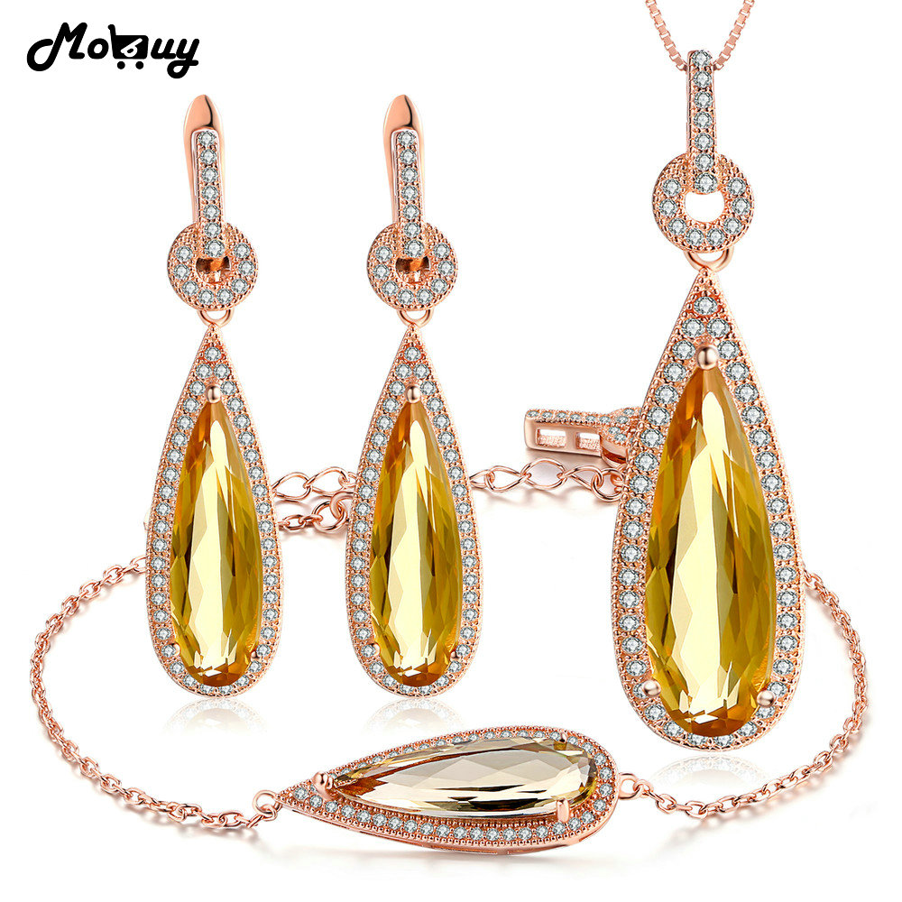 MoBuy Romantic Pear Citrine Natural Gemstone 3pcs Jewelry Sets Fine Jewelry For Women Wedding 100% 925 Sterling Silver V047EHNMoBuy Romantic Pear Citrine Natural Gemstone 3pcs Jewelry Sets Fine Jewelry For Women Wedding 100% 925 Sterling Silver V047EHN
