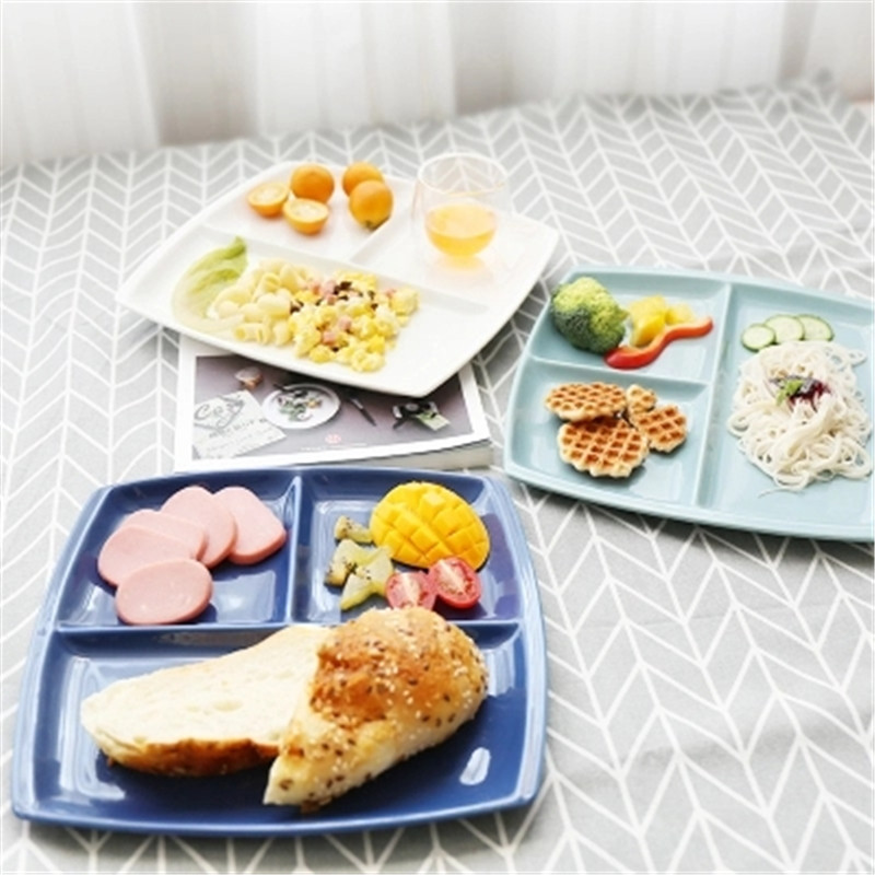 KINGLANG Nordic solid color creative ceramic breakfast plate Three-point grid children's Western-style snack fruit Western plate