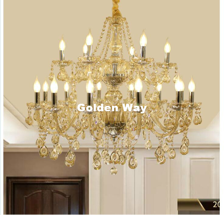 Free Shipping Cognac Crystal Chandelier Lighting Fixture Luxury 18L LED Large Crystal Lustres de cristal Living Room chandelier