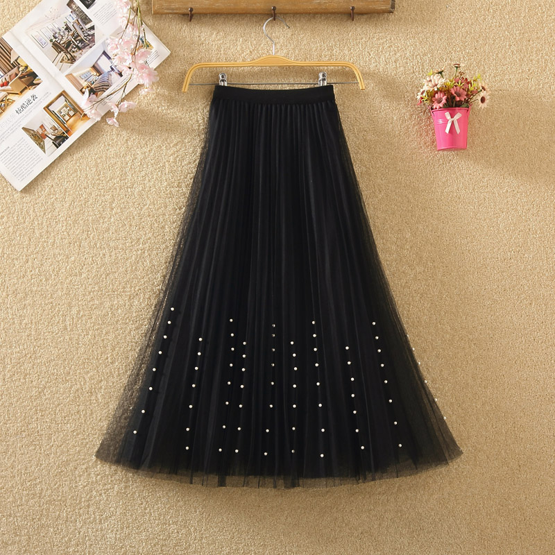 New 2019 Spring Summer Skirts Womens Beading Mesh Tulle Skirt Women Elastic High Waist A Line Mid Calf Midi Long Pleated Skirt 9