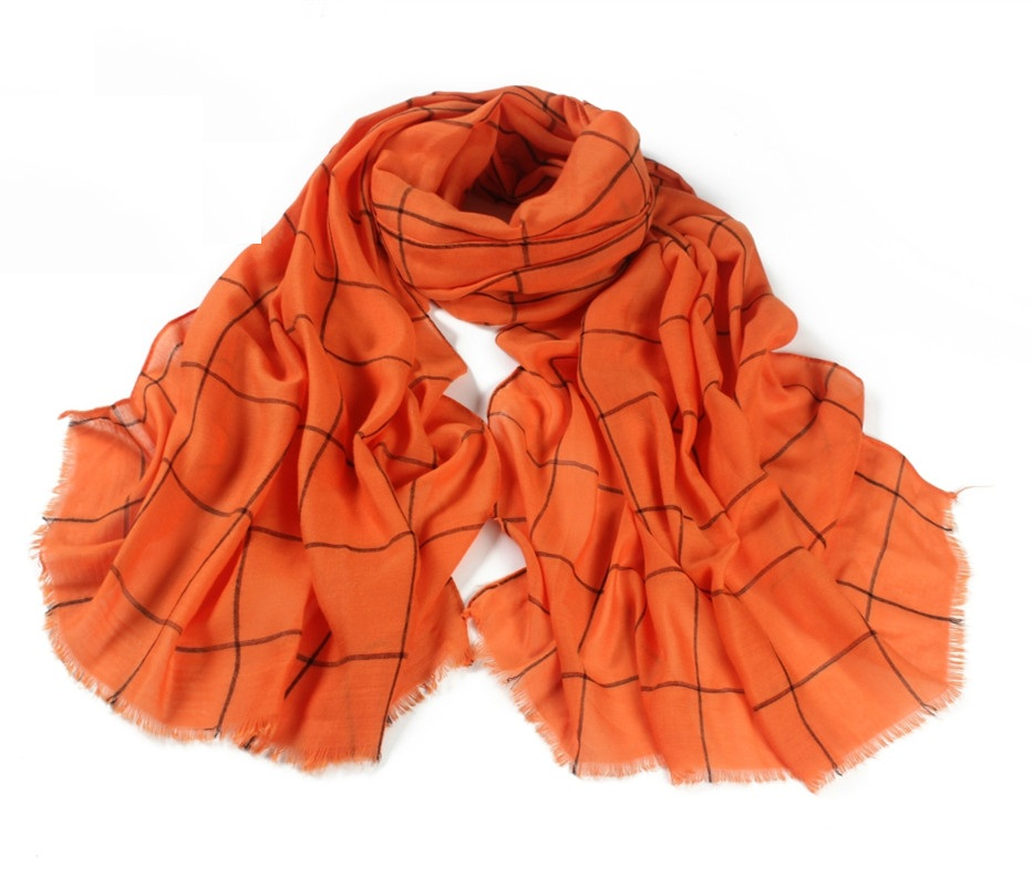 Classic Cotton Plaid Checked Print Orange Scarf Large Soft Women Scarves Tassles Big font b Tartan