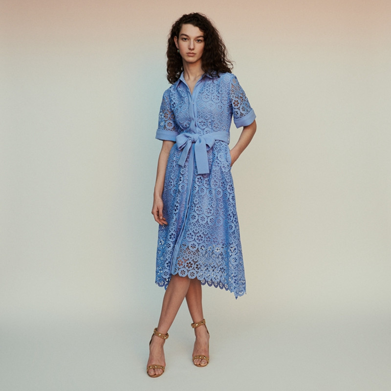 2019 New Women Hollow Out Lace Long Dress With Belt White and Blue Color