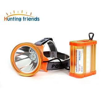 Săn bắn bạn bè Mới Phong Cách Riêng Biệt LED Đèn Pha 18650 Đèn Pha với Side Ánh Sáng & USB Outport 3 chế độ Reachargeable Vàng Đèn Pha