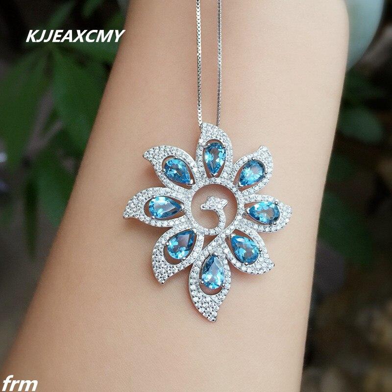 KJJEAXCMY boutique bijoux, Phoenix femmes pendentif topaze bleue naturelle vente en gros 925 argent incrusté