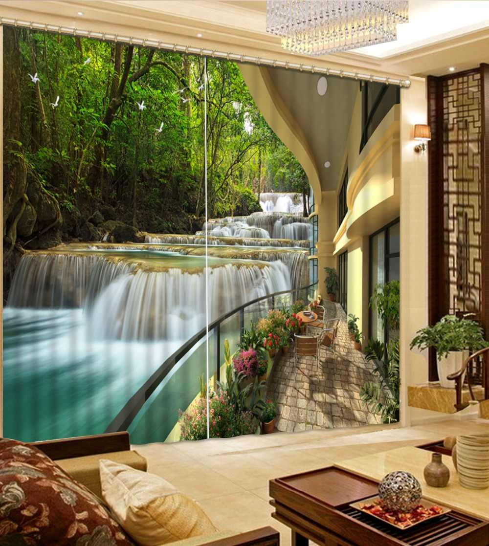 Customize 3D Curtain Printing Blockout Waterfall scenery Photo Living Room Bedroom Window Curtains