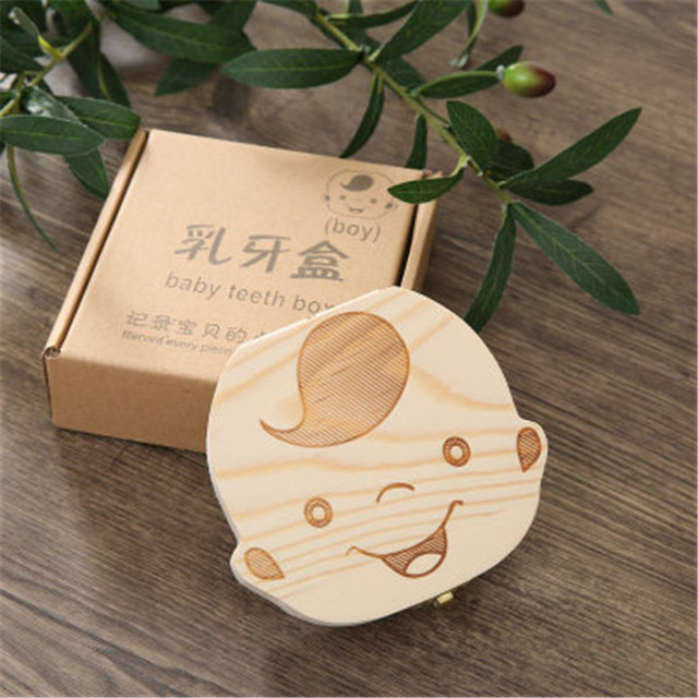 Baby Milk Teeth Box New Russian/French Baby Wooden Tooth Box Babies Tooth Organizer for Kids Deciduous Storage Box Creative Gift