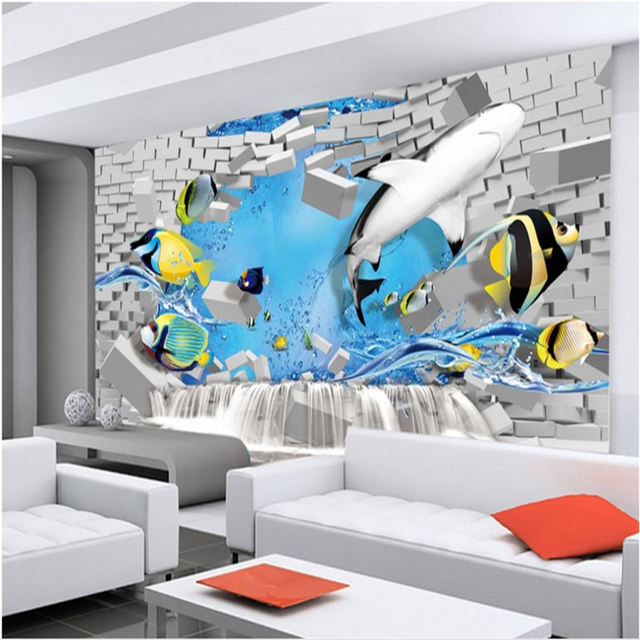 Charming Beibehang Large Custom Wallpapers Creative 3D Brick Wall Underwater World  Background Wall Decoration Painting