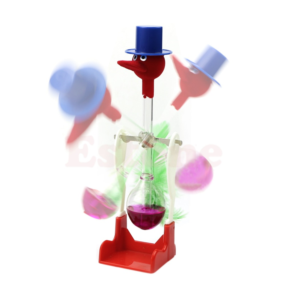 4804909f6a1 1 Pc Não Parar de Beber Vidro Líquido Movimento Perpétuo Pássaro Sorte  Brinquedo De Mesa Pato Novo em Peões de Brinquedos no AliExpress.com