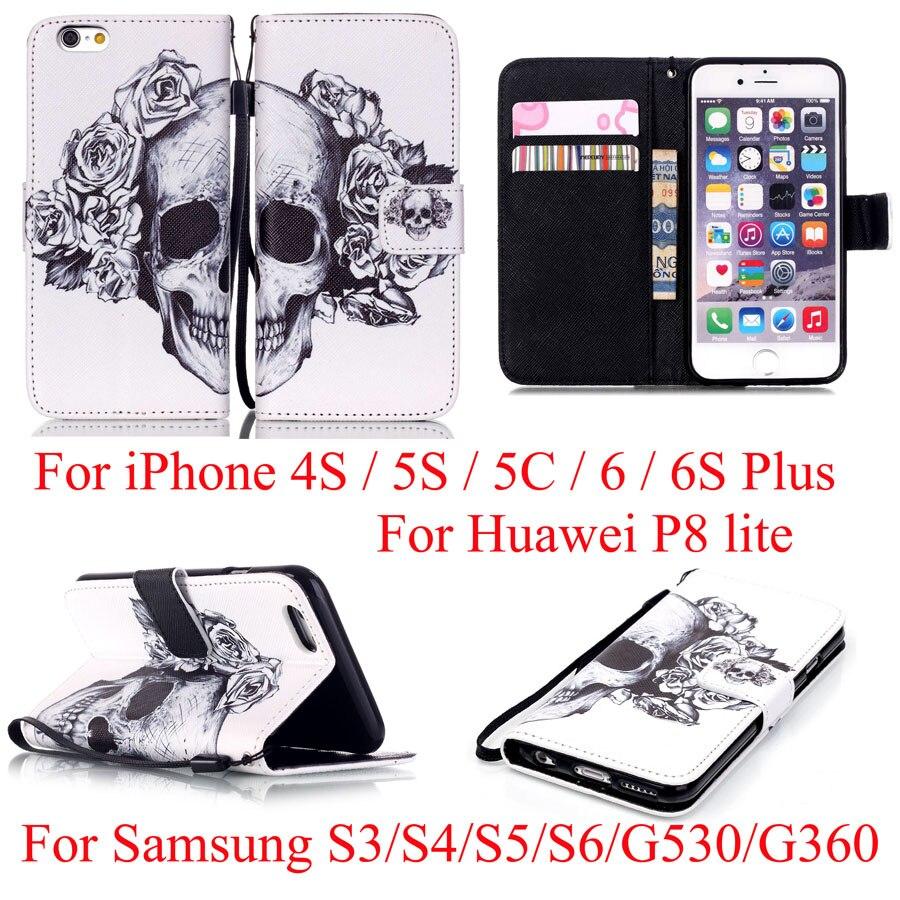 Flower Skull Flip Leather Wallet Cover Case For iPhone 4S 5S SE 5C 6 6plus / S3 S4 S5 mini S6 S7 edge /G530 G360/Huaweis P8 Lite