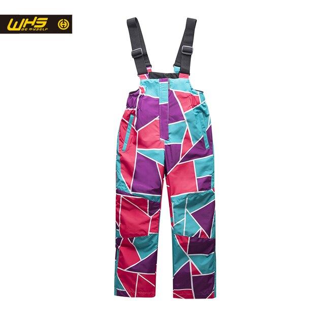 WHS Обувь для девочек лыжный Штаны Малыш катание на лыжах брюки водонепроницаемый брюки ветрозащитные зимние брюки От 4 до 16 лет