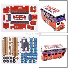 Double Decker 3D Educational Bus Puzzle Paper & EPS Model Papercraft Decor Gift -B116