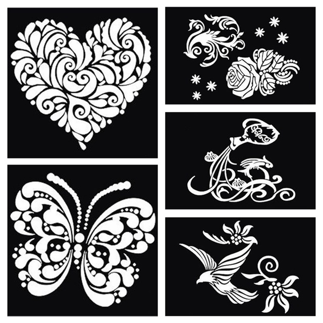 buy 1pcs butterfly heart dragon bird large airbrush tattoo stencil for body. Black Bedroom Furniture Sets. Home Design Ideas