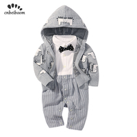 Children's clothing sets 2019 new spring baby boy gentleman bow tie long sleeve romper and coat newborn first 1 2 birthday dress