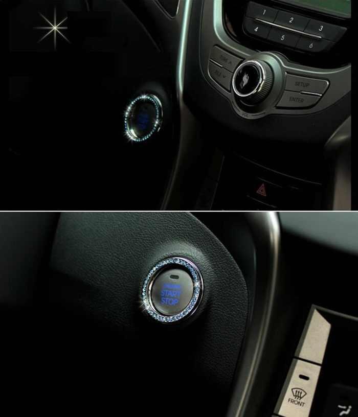 Rete cystal anel adesivo para o Interior do automóvel Motor One-Chave Iniciar Chave Auto para Começar a Decoração Do Metal Círculo Carro botão Estilo Wh