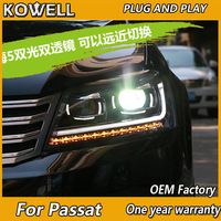 KOWELL Car Styling for New VW Passat B7 Headlights 2012 2013 2014 2015 Passat LED Headlight DRL Bi Xenon Lens High Low Beam