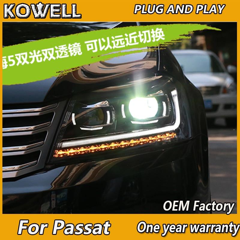 KOWELL voiture style pour nouvelle VW Passat B7 phares 2012 2013 2014 2015 Passat phare LED DRL Bi xénon lentille feux de croisement