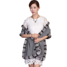 women scarf shawl 100% real wool cape with natural rex rabbit fur trim chinchilla gray color luxury winter S36