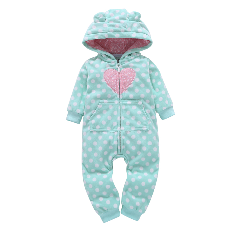 baby girl clothes polka dot long sleeve hooded jumpsuit with zipper newborn ears fleece rompers baby winter outwear overalls plus polka dot flounce sleeve top