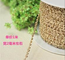 1M Gold Lace Crystal Beads Sequin Fabric Beaded Trim Ribbon DIY Sewing Applique Collar Cord Wedding Dress Guipure Decor YU21(China)