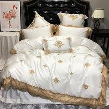 Oriental Ricamo Reale di Lusso Set di Biancheria Da Letto Egypian Pizzo di cotone Oro Bianco Queen foglio di letto King Size set di Biancheria Da Letto copripiumino set