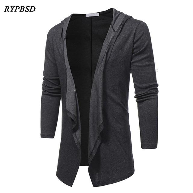 30ae10e2c2 2019 Spring Autumn New Fashion V Neck Shawl Collar Long Hoodie Cardigan Jacket  Men Hooded Cloak Black Casual Male Gothic Coat