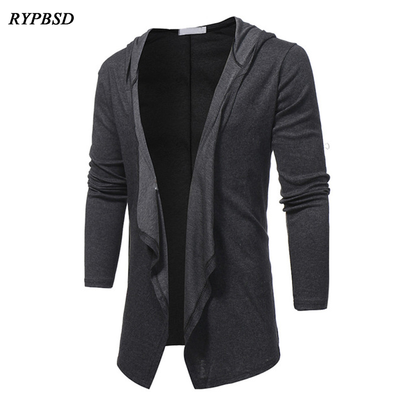 New 2019 Spring Jacket Man Fashion V Neck Shawl Collar Long Cardigan Jacket Men Black Grey Solid Color Casual Hooded Cloak Men