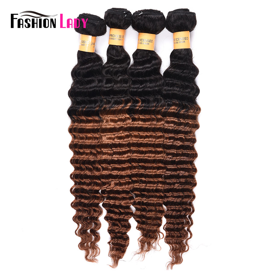Fashion Lady Pre-Colored Ombre Brazilian Hair 2 Tone Human Hair Weave Deep Wave Bundles 1b/30 Brown Bundles 4 Bundles Non-remy