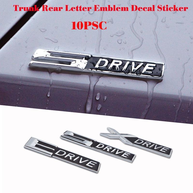 Wholesale Free Shipping Car styling 10pcs Chrome alloy XDrive 5Drive EDrive Emblem 3D Car Badge For bmw 2 Series 3 Series 5
