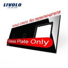 Envío Libre, Livolo Lujo Cristal Negro, 223mm * 80mm, estándar de LA UE, 1 + 1 Bandas y 1 Panel de Vidrio Del Marco, VL-C7-C1/C1/SR-12