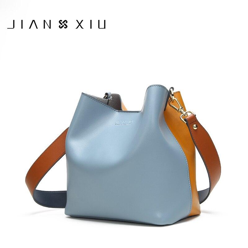 JIANXIU Brand Genuine Leather Shoulder Bags Spell Color Detachable Liner Bucket Bag Luxury Handbag Women Bags