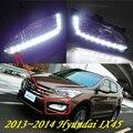 Автомобиль для укладки, Santa Fe дневного света, 2013 ~ 2016, chrome, LED, Свободный корабль! 2 шт., автомобиль-детектор, Санта-Фе противотуманные фары, автомобиль крышки, IX45 IX35