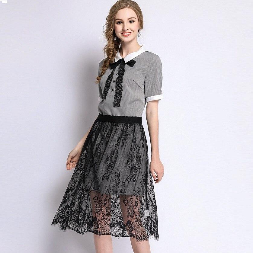 2018New Summer female elegant dress set twinset peter pan collar bow shirt dress+lace skirt plus size juniors vestidos L-XXXXXL