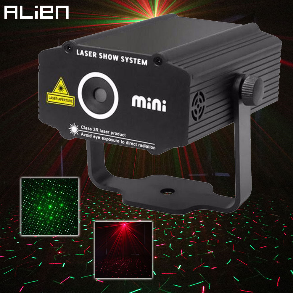 ALIEN Mini R&G Laser Projector Stage Lighting Effect Red Green Star Light Disco DJ Club Bar Party Dance Holiday Show Lights laser stage lighting 48 patterns rg club light red green blue led dj home party professional projector disco dance floor lamp