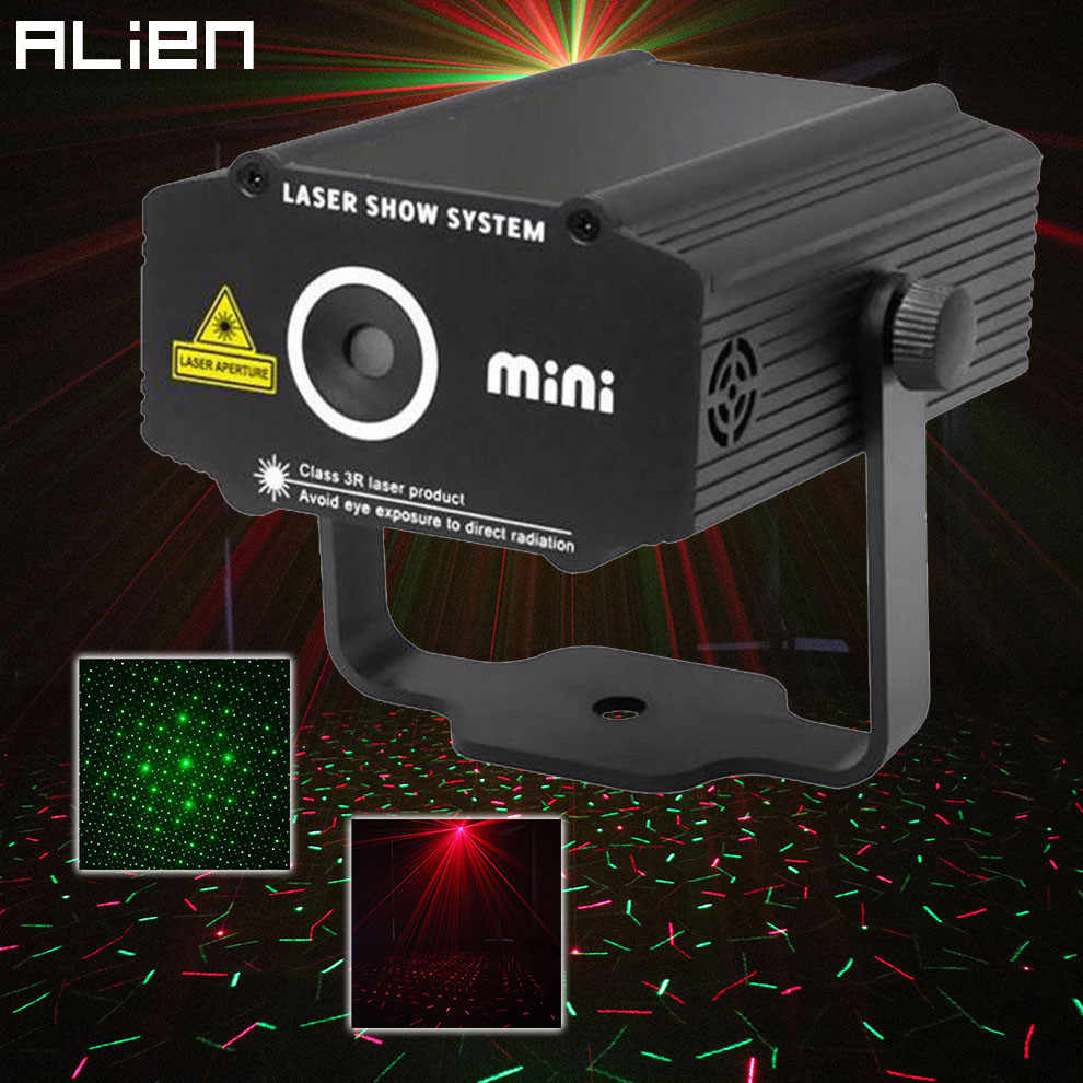 ALIEN Mini R & G Лазерное освещение проектора эффект красный зеленый звездный свет диджей для диско клуба Бар вечерние танцевальные праздничные шоу огни