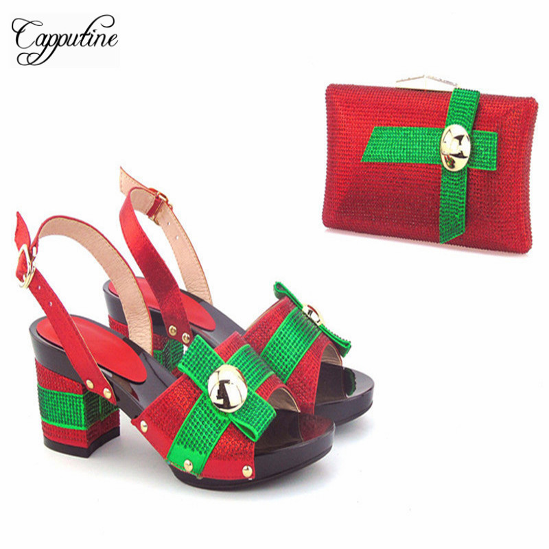 Capputine Newest African Design Woman Low Heels Shoes And Bag Set For Party Fashion Summer Slipper Shoes And Bag Set Size 37-43 capputine new arrival fashion shoes and bag set high quality italian style woman high heels shoes and bags set for wedding party