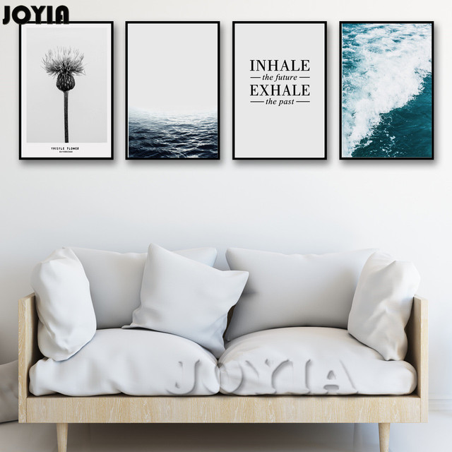 Waves Seascape Prints Modernism Life Quotes Canvas Wall Art Posters Minimalist Living Room Sofa Background