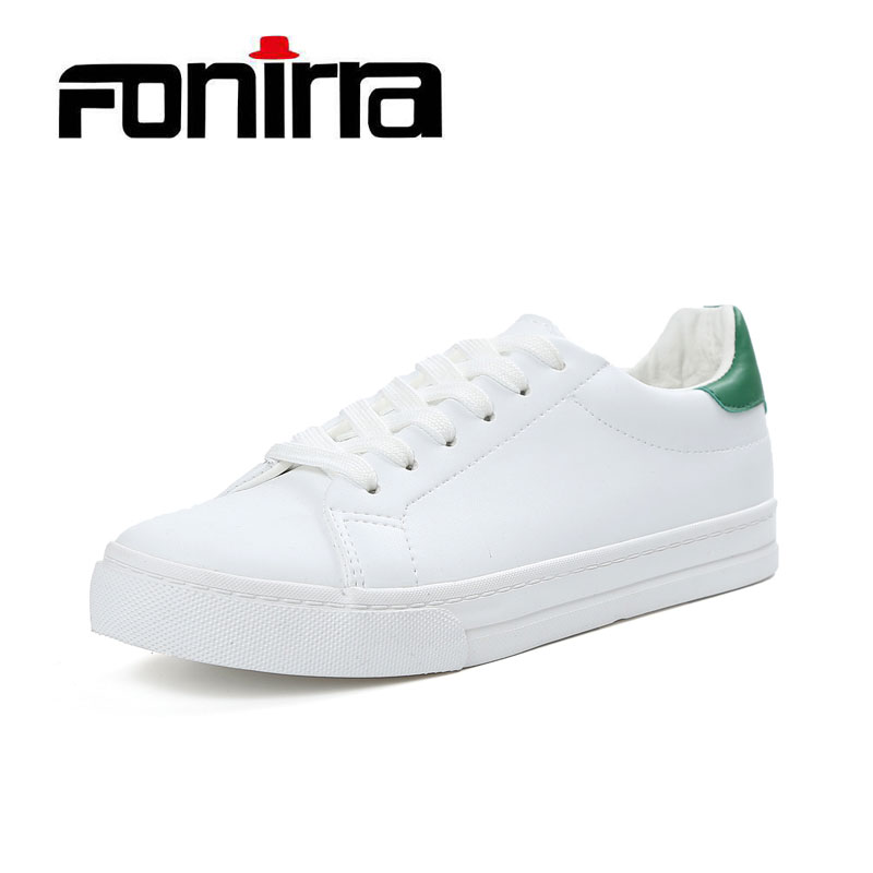 FONIRRA Spring Green Smiley Flat Sneaker Women Shoes Black PU Leather Cross Tied Casual Shoes For Ladies Fashion Solid Shoes 092 2017 new spring imported leather men s shoes white eather shoes breathable sneaker fashion men casual shoes