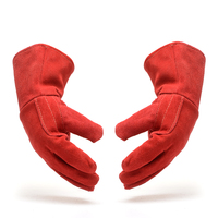 Free Shipping Hot Selling Genuine Leather Welding Glove With Velvet Lining Safety Cow Split Leather Protect