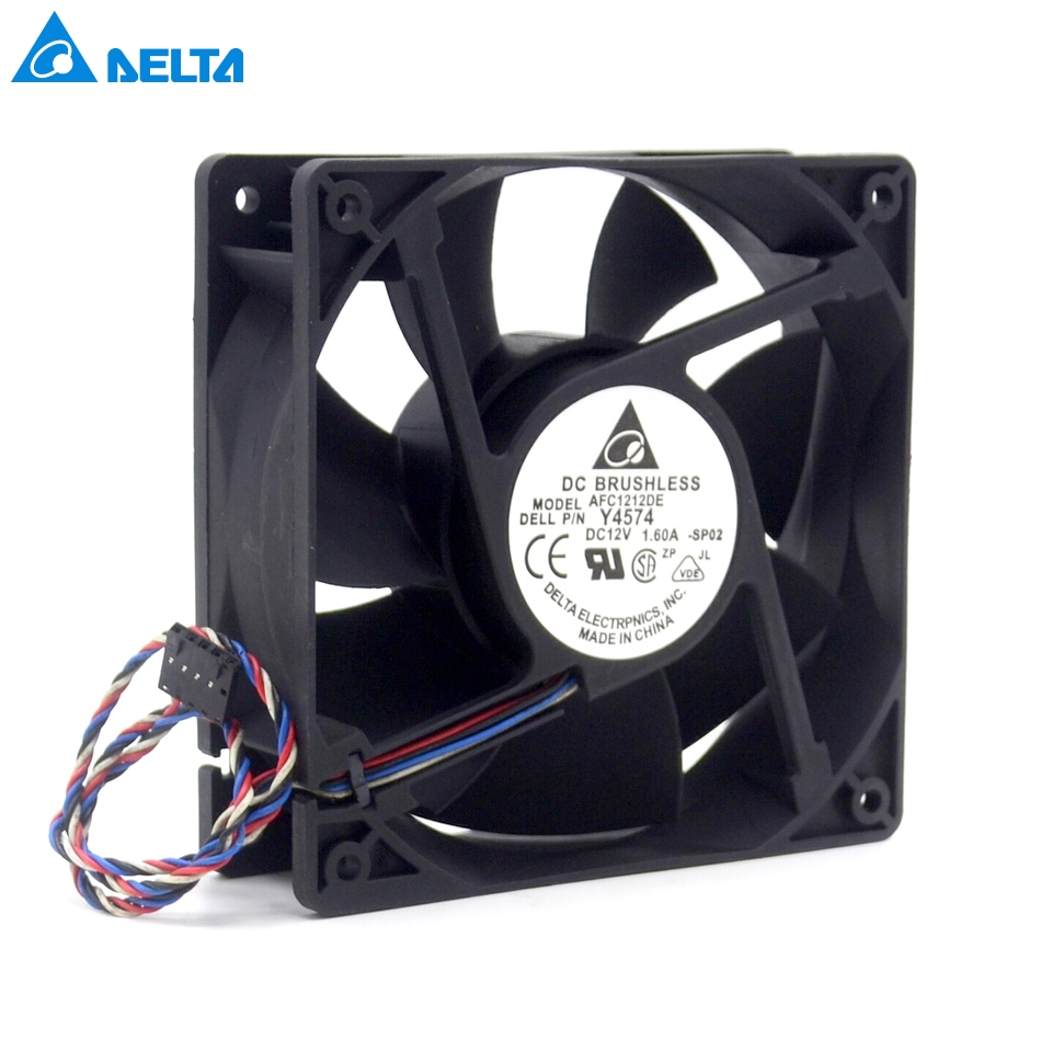 Delta AFC1212DE 12038 12cm 120mm DC 12V 1.6A pwm ball fan thermostat inverter server cooling fan delta afb1212hhe 12038 12cm 120 120 38mm 4 line pwm intelligent temperature control 12v 0 7a