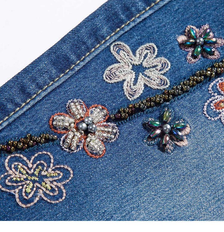 KSTUN Women Jeans with Embroidery High Waist Blue Denim Pants Bell Buttom Jeans Rhinestones Embroidered Fashion Quality Brand 21