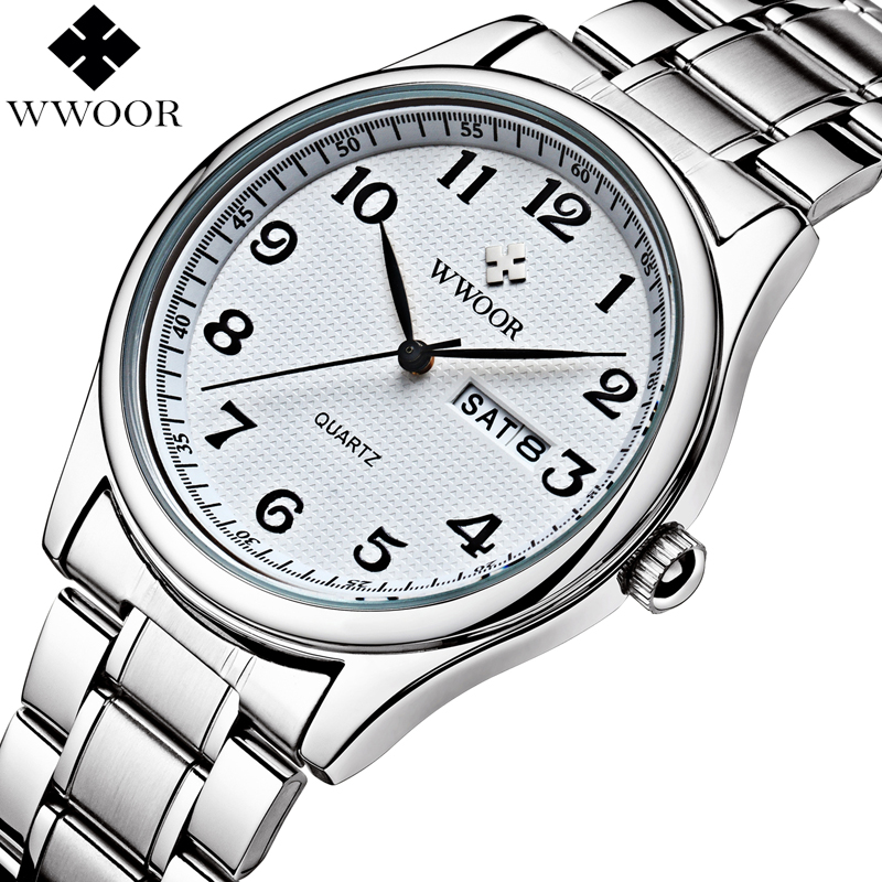 WWOOR Brand Luxury Men Watches Quartz Analog Date Clock Male Casual Sport Watch Men Stainless Steel Wristwatch Relogio Masculino