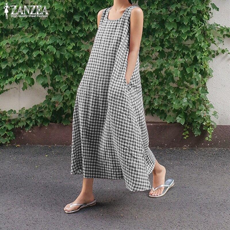 ZANZEA 2020 Check Summer Dress Women's Sundress Fashion Long Maxi Dresses Female Sleeveless Party Vestidos Kaftan Robe Femme 5XL