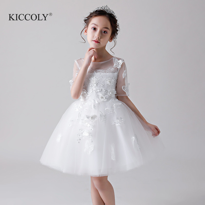 Elegant White Tulle Floral Flower Girl Ceremony Half Sleeve Pageant Princess Dress for Party Wedding Girl First Communion Gown