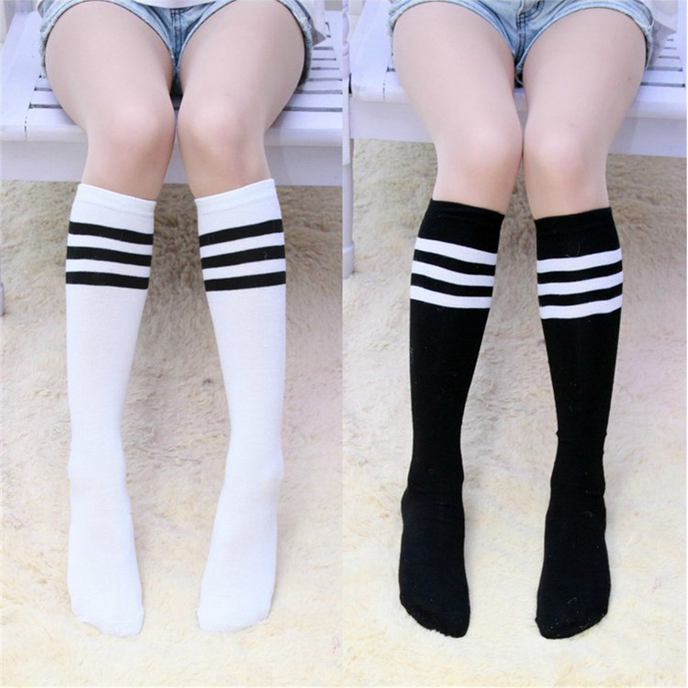 1Pair Cotton Knee High Women Football Solid Socks Ladies Knee High 3 Line Striped Cotton Socks School Party Cheerleader Supplies