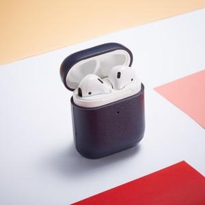 Image 2 - יוקרה עסקים אוזניות מקרה עבור אפל Airpods 2 רצועת עור מפוצל Bluetooth אוזניות אוויר תרמילי כיסוי פאוץ Airpod אבזרים